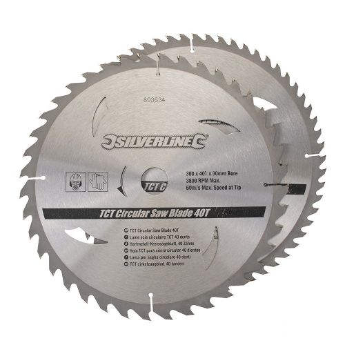 2 Pack Silverline 803634 TCT Circular Saw Blades 40 & 60 Teeth 300mm x 30mm